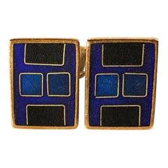 1950s Karl Schibensky Scholtz Lammel German Modern Blue Matte Enamel Cufflinks
