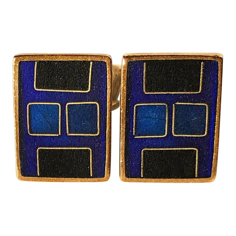 1950s Karl Schibensky Scholtz Lammel German Modern Blue Matte Enamel Cufflinks For Sale