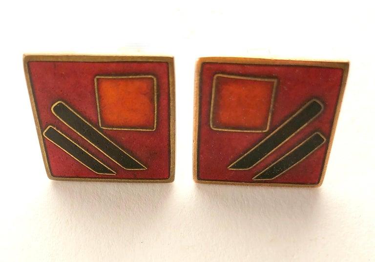 Men's 1950s Karl Schibensky Scholtz Lammel German Modernist Red Matte Enamel Cufflinks For Sale