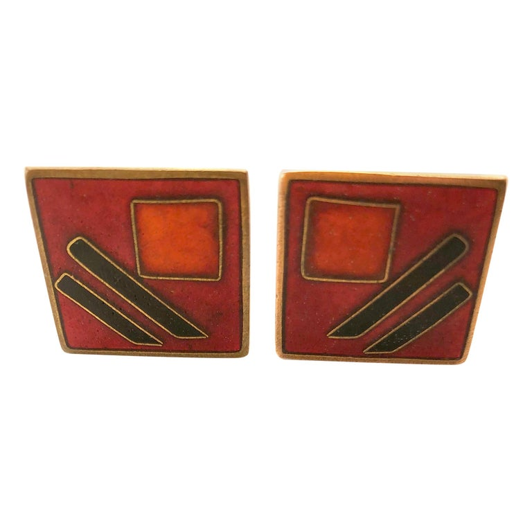 1950s Karl Schibensky Scholtz Lammel German Modernist Red Matte Enamel Cufflinks For Sale