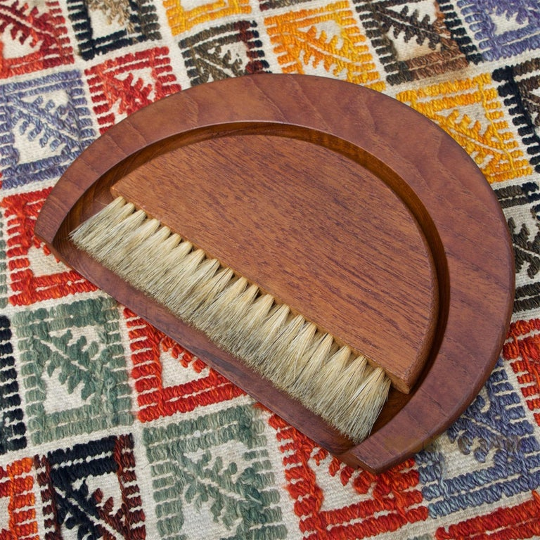 Scandinavian Modern 1950s Kay Bojesen Danish Teak Dust Bin Crumb Sweeper Set For Sale