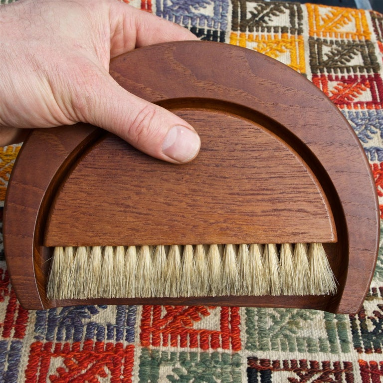 Oiled 1950s Kay Bojesen Danish Teak Dust Bin Crumb Sweeper Set For Sale