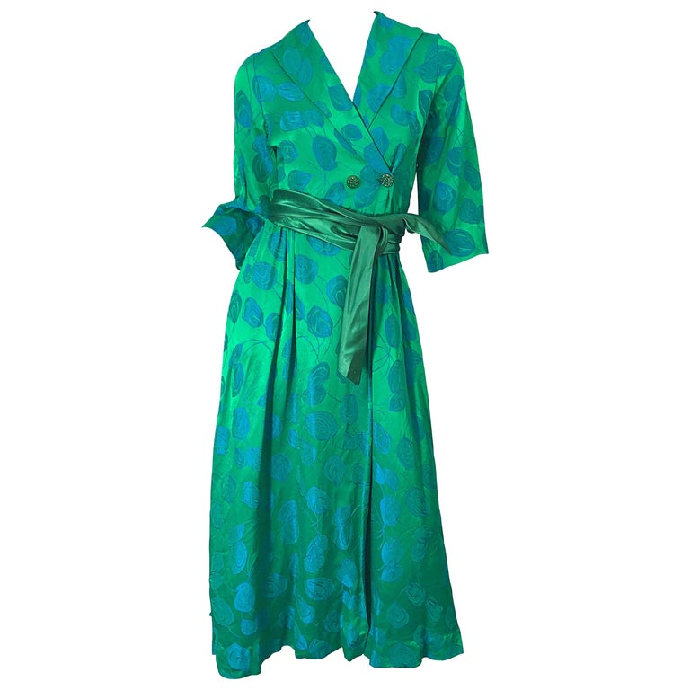 1950s Kelly Green + Blue Flower Print Rayon Rhinestone Vintage 50s Wrap Dress For Sale