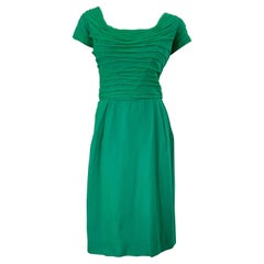 1950s Kelly Green Demi Couture Silk Chiffon Vintage Short Sleeve 50s Dress