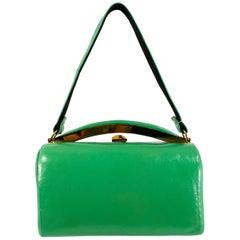 1950s Kelly Green Handbag with Brass Hardware