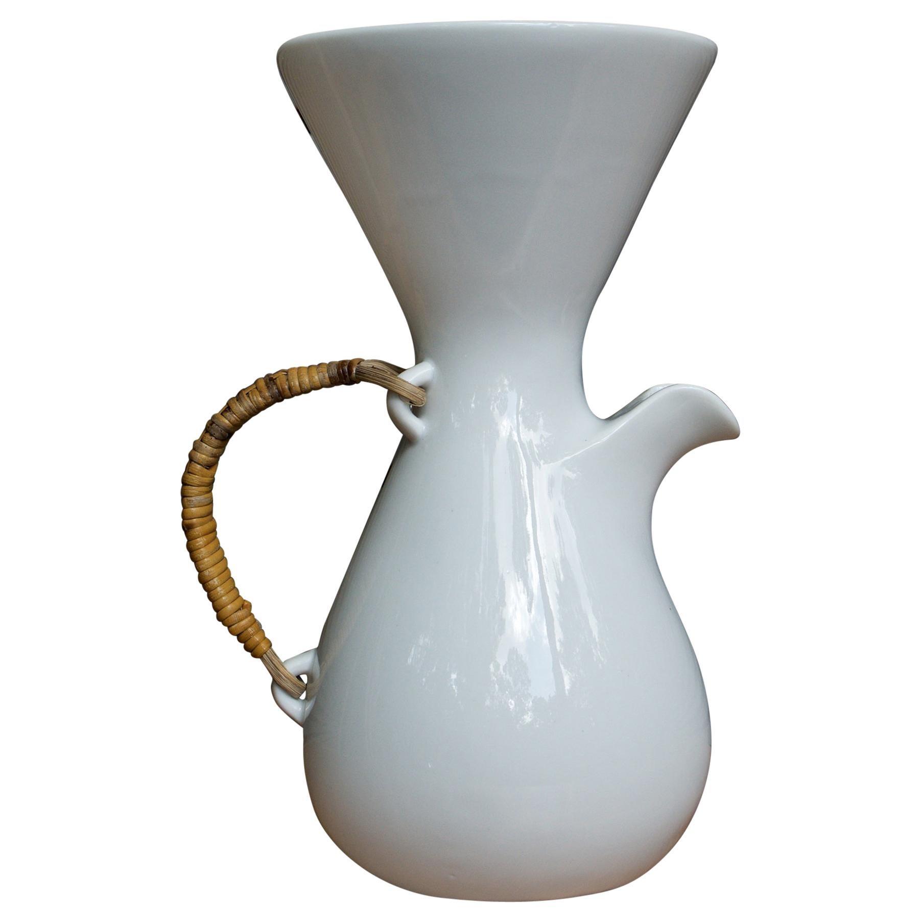 1950s Kenji Fujita for Tackett Associates Cane Handled Teapot Water Pitcher Vase