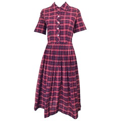1950s Kerrybrooke Red, White and Navy Blue Party in the Back Plaid Vintage Dress