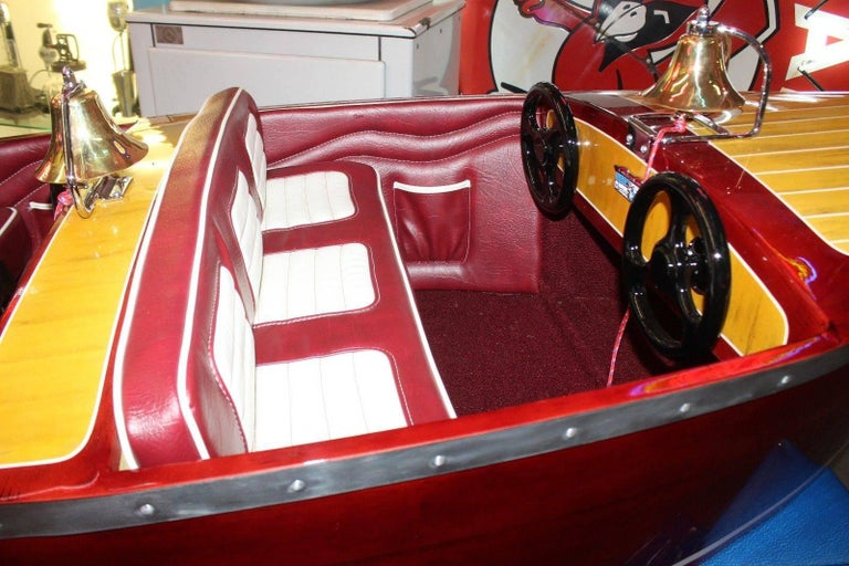 Mid-Century Modern 1950s Kiddie Boat Ride with Custom Chris Craft Logo Carnival Ride For Sale