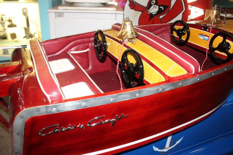 American 1950s Kiddie Boat Ride with Custom Chris Craft Logo Carnival Ride For Sale