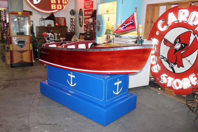 Mid-20th Century 1950s Kiddie Boat Ride with Custom Chris Craft Logo Carnival Ride For Sale