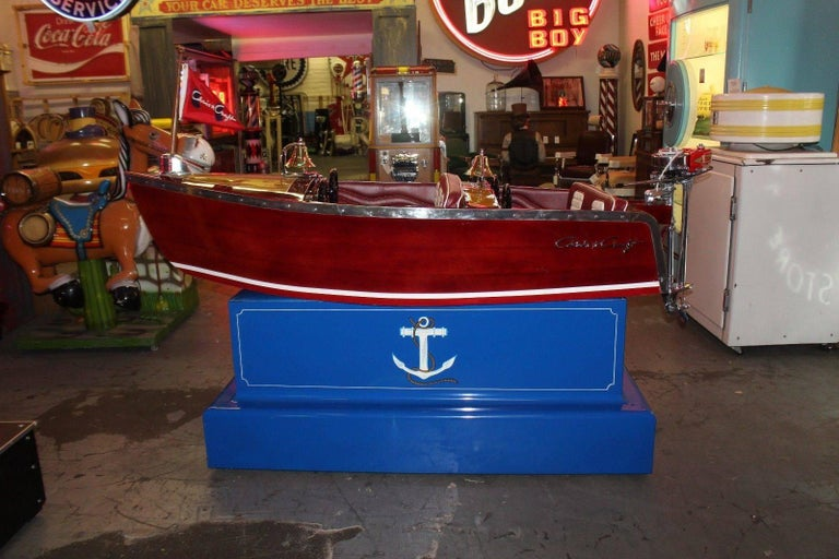 Aluminum 1950s Kiddie Boat Ride with Custom Chris Craft Logo Carnival Ride For Sale