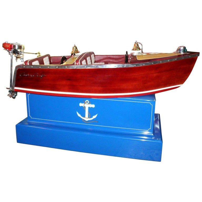 1950s Kiddie Boat Ride with Custom Chris Craft Logo Carnival Ride For Sale