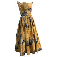 1950s Kiilani - Honolulu Golden Cotton Sundress W/ Blue & Black Pineapple Print