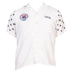 1950S King Louie White Rayon Men's Bowling Shirt With Black Star Embroidered Sl