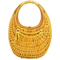 1950s Koret Crescent Flat Reed Basket Handbag with Gold Tassel