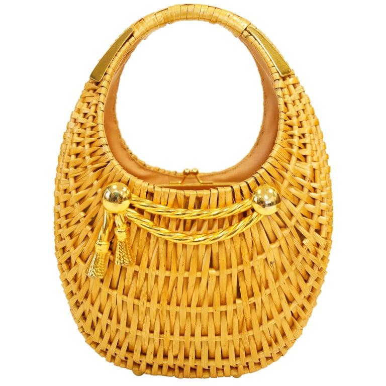 1950s Koret Crescent Flat Reed Basket Handbag with Gold Tassel