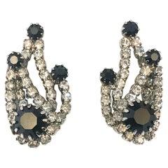 1950s Kramer Clip on Clear and Black Rhinestone Earrings