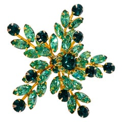 1950s Kramer of New York Emerald and Mint Green Rhinestone Brooch