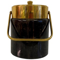 1950s Lacquered Goatskin and Brass Ice Bucket by Aldo Tura