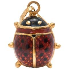 1950s Ladybug Pendant in 18 Karat Yellow Gold and Enamel