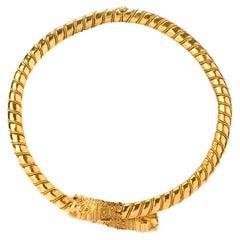 1950s Lalaounis 22 Karat Gold Torque Choker Cuff Necklace