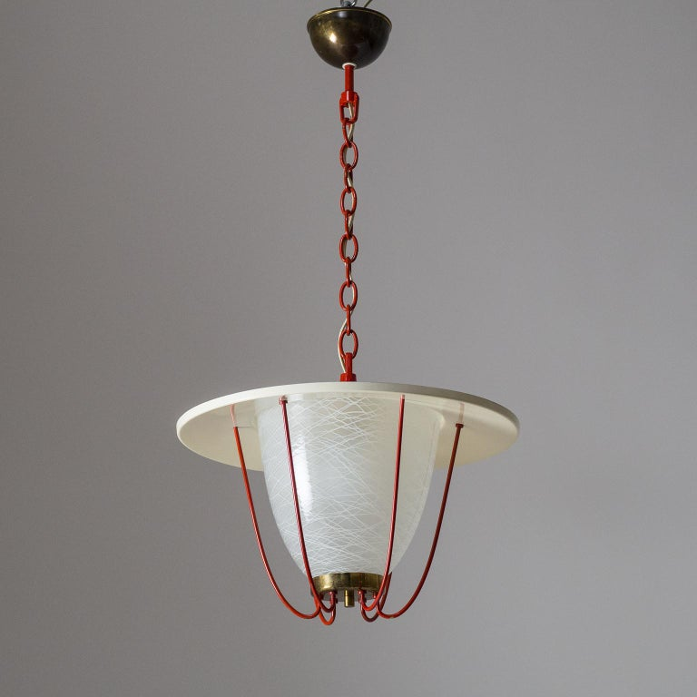 1950s Lantern, Glass, Brass and Red Lacquered Shade For Sale 3