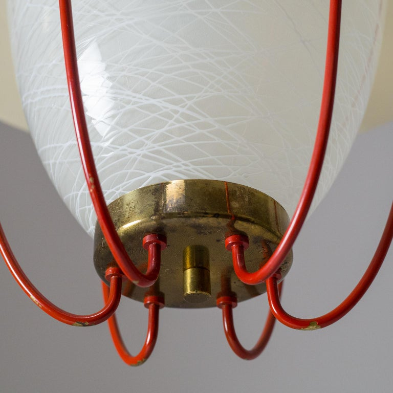 1950s Lantern, Glass, Brass and Red Lacquered Shade For Sale 8