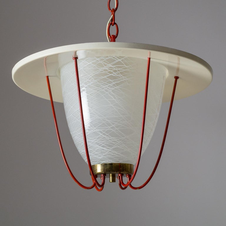 1950s Lantern, Glass, Brass and Red Lacquered Shade For Sale 9