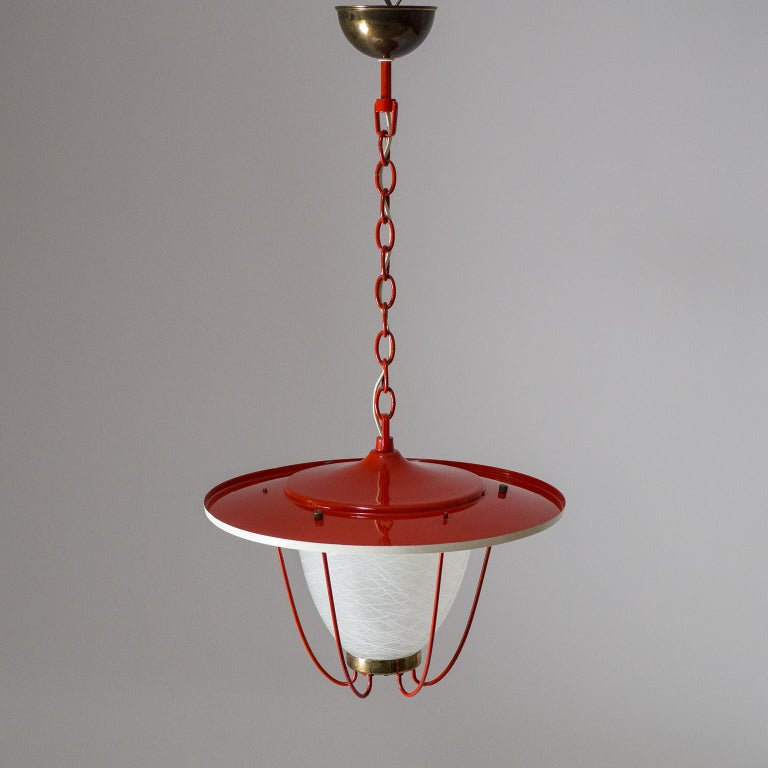 1950s Lantern, Glass, Brass and Red Lacquered Shade For Sale 12