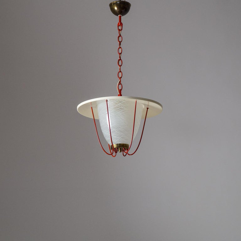 1950s Lantern, Glass, Brass and Red Lacquered Shade For Sale 13