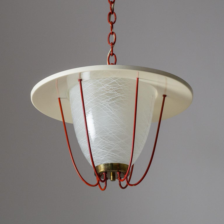 Mid-Century Modern 1950s Lantern, Glass, Brass and Red Lacquered Shade For Sale
