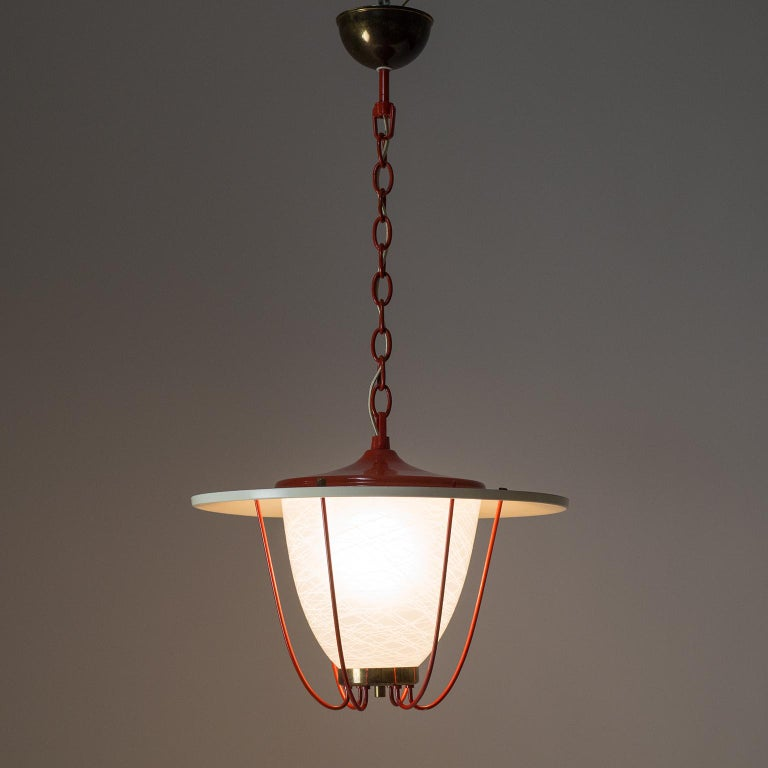 1950s Lantern, Glass, Brass and Red Lacquered Shade In Good Condition For Sale In Vienna, AT