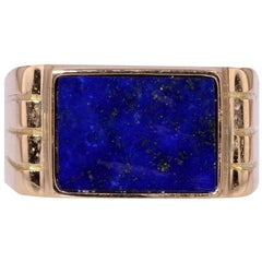 1950s Lapis Lazuli 18 Karat Yellow Gold Signet Ring