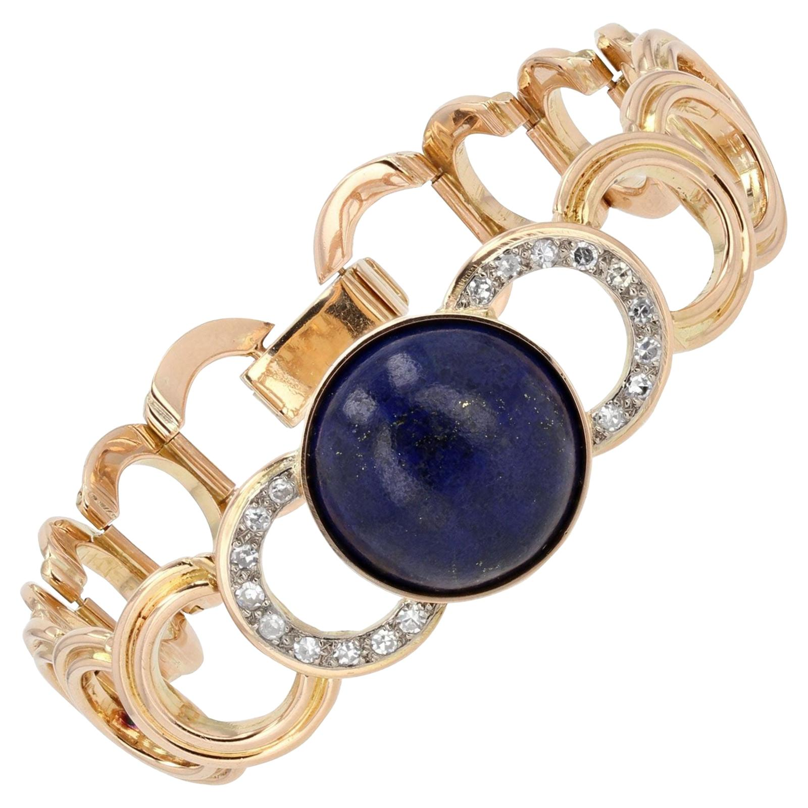 1950s Lapis Lazuli Cabochon Diamonds 18 Karat Yellow Gold Bracelet