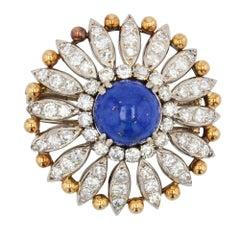 1950s Lapis Lazuli Diamonds 18 Karat Yellow White Gold Brooch