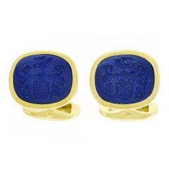 1950s Lapis Set Gold Signet Cufflinks