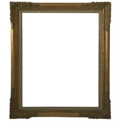 1950s Large 'About 4' by 3'' Carved Wood Frame
