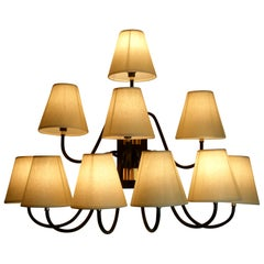 """1950s Large """"Bouquet"""" Sconce with Ten-Lighted Arms Style of J. Royère"""