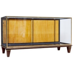 1950s Large Brass and Teak Display Cabinet