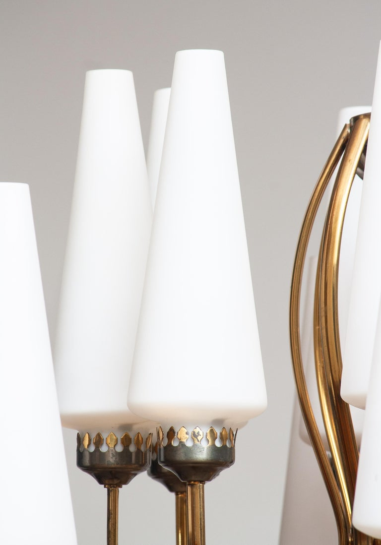 1950s, Large Brass Chandelier by Stilnovo with Large White Murano Vases, Italy 4
