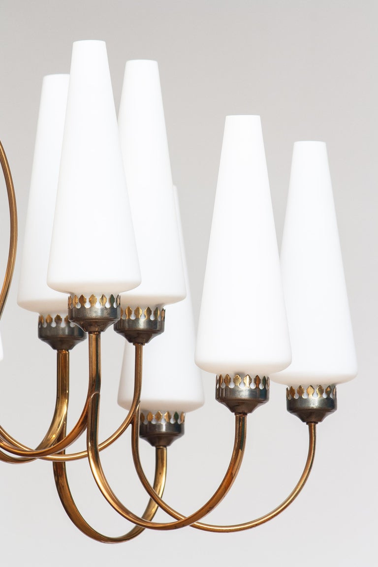 1950s, Large Brass Chandelier by Stilnovo with Large White Murano Vases, Italy For Sale 5