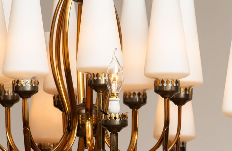 1950s, Large Brass Chandelier by Stilnovo with Large White Murano Vases, Italy For Sale 8