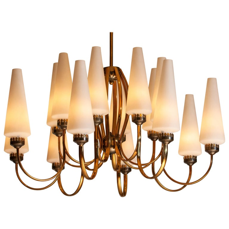 Exceptional big brass extra large chandelier withsixteen big Murano vases made by Stilnovo in the 1950s, Italy The diameter of these big chandelier is 90 cm or 36 inches. The height of the Murano vases is 30 cm or 12 inches. The total height is