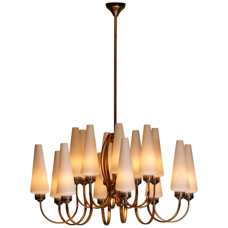 Italian 1950s, Large Brass Chandelier by Stilnovo with Large White Murano Vases, Italy