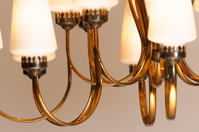 Mid-20th Century 1950s, Large Brass Chandelier by Stilnovo with Large White Murano Vases, Italy For Sale