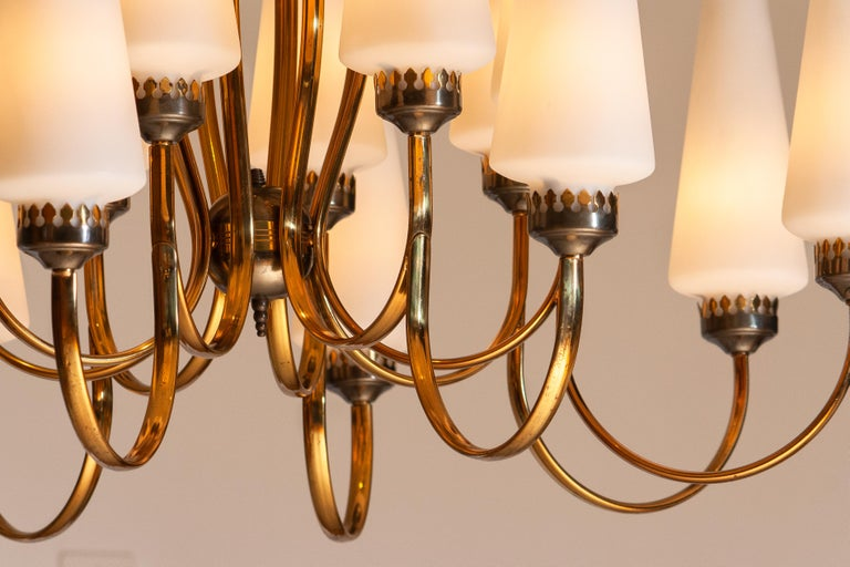 1950s, Large Brass Chandelier by Stilnovo with Large White Murano Vases, Italy 1
