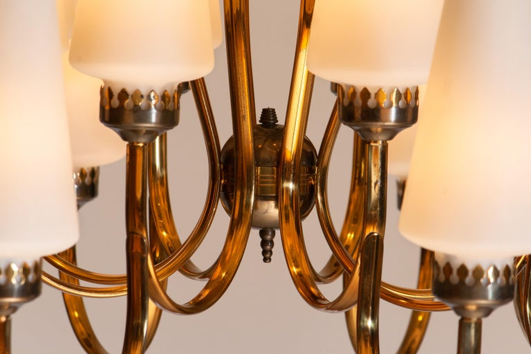 1950s, Large Brass Chandelier by Stilnovo with Large White Murano Vases, Italy 2