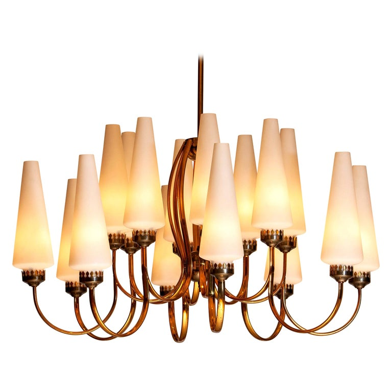 1950s, Large Brass Chandelier by Stilnovo with Large White Murano Vases, Italy For Sale