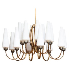 1950s, Large Brass Chandelier by Stilnovo with Large White Murano Vases, Italy