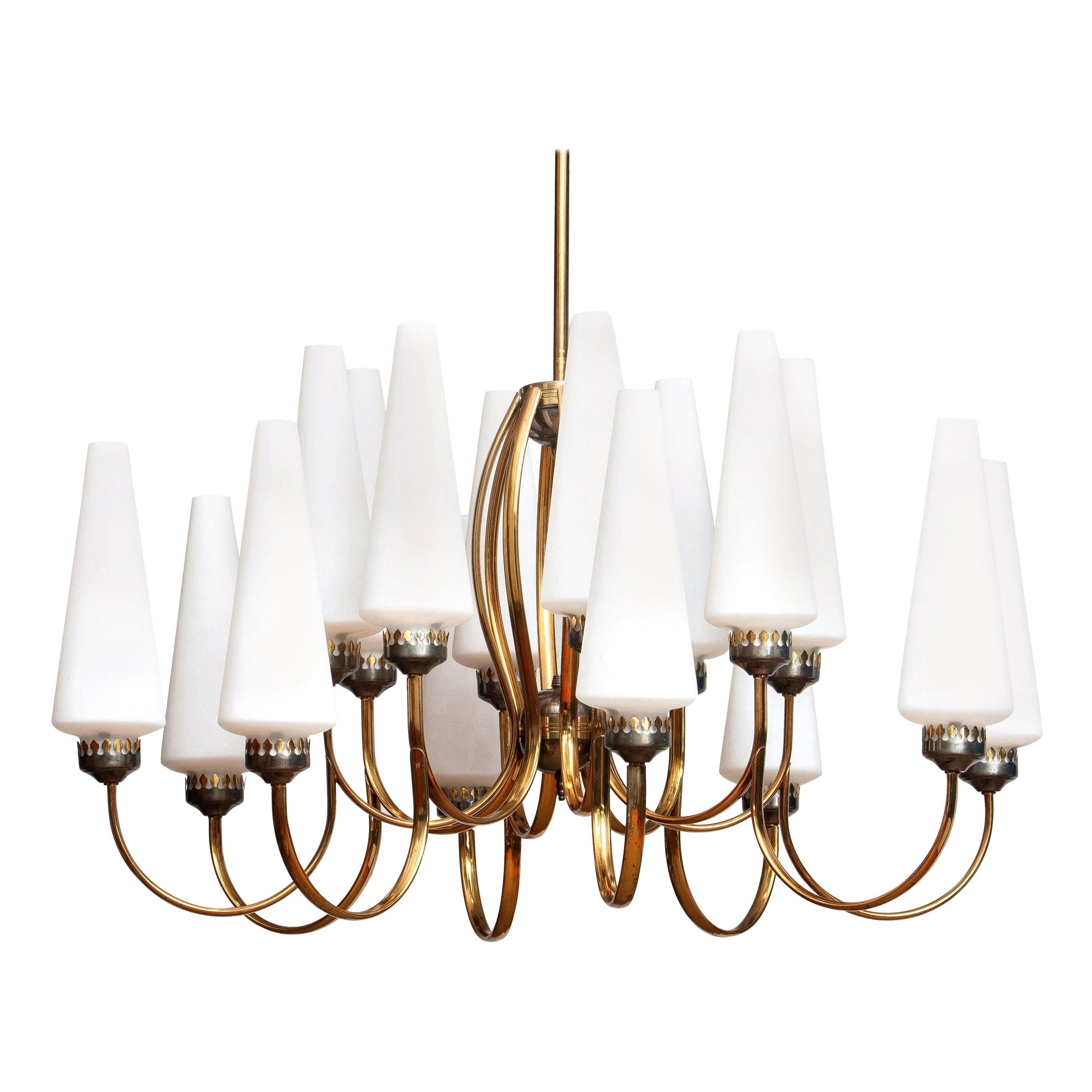 1950s, Large Brass Chandelier with Large White Murano Glass Vases, Italy